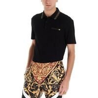 Versace Polo shirt with grecca detail & medusa metallic logo, M/48 Made in Italy