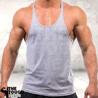 Gym Singlets - Men's Tank Top for Bodybuilding and Fitness - Stringer Gray