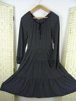VINTAGE black polkadot festival/summer/boho/tiered peasant style dress S