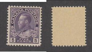 MNH Canada 5c Rose Violet KGV Admiral Stamp, Wet Printing #112ii (Lot #20039)