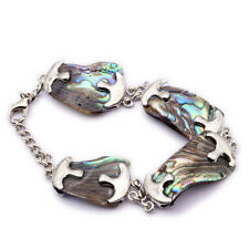 Genuine Tropical Natural abalone Shell Gemstone Silver Chain Bracelet 8 Inch