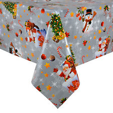 Christmas Tablecloth Large 140 x 240cm PVC Wipe Clean Silver Xmas Table Cloth