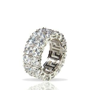 Silver Iced Diamond 2 Row Tennis Band Ring Bling ICY Stainless Steel Mens Womens