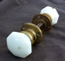 RARE! Antique Vintage Pair Doorknob Door Milk White Glass Brass Base Shank Knobs
