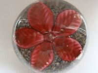Runder Glas Briefbeschwerer/Paperweight mit großer Blüte, rot