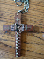 UNUSUAL BIG WOODEN CROSS PENDANT HAND DECORATED FRENCH