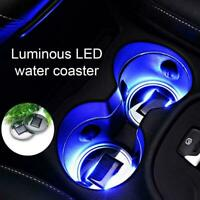 2Pcs Solar Cup LED Pad Car Light Cover Interior Decoration Lights S9W4