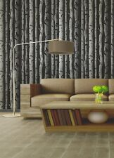 Brewster Distinctive Black Birch Tree Metallic Silver Botanical Boho Wallpaper