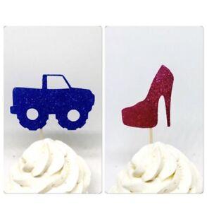 Wheels or heels cupcake, Gender Reveal Cupcake Toppers, Gender Reveal