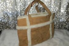 PREVIEW International Faux Suede Shearling Purse Book Day Bag Pack Bucket