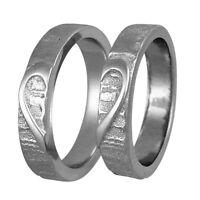 2 Silber 925 Trauringe HERZ Gravur Freundschaftsringe Eheringe Ringe V01