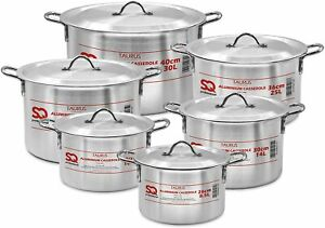 Sq Professional Taurus Aluminium Cooking Pot Casserole Set 6pc With Lids 28-40cm