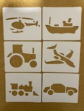 Childrens Stencils Templates Boat Car Tractor Train Plane helicopter painting