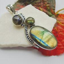 Labradorit blau grün Edelstein Design Amulett, Anhänger Silber plattiert neu