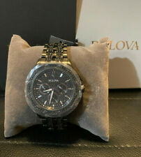 Bulova 98C134 Men's Crystal Quartz Black Pave Dial Bracelet Watch