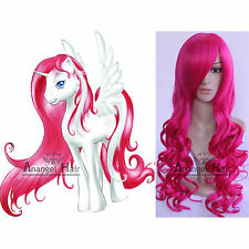 My Little Pony Pinkie Pie Cosplay Wig  Synthetic Rose Long Curly Costume Wigs