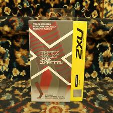 2XU Womens Striped Run Compression Socks Cherry Pink/grey Large
