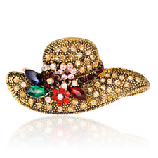 Fashion Women Bronze Hats Brooches Lapel Pin Crystal Breastpin Jewelry Accessory