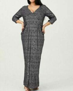 BNWT Little Mistress Curve Sequin V Neck Maxi Dress Purple Size 20 Eu 48 Us 16