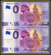 LOT de 2 Billets Touristique Souvenir 0 Euro Ordre du Temple 2020 Anniversary