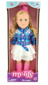 """My Life As Cowgirl Doll 18"""" Posable Blonde Hair Green Eyes Pink Hat Boots Skirt"""