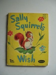 """Vintage Whitman's TINY TALES """"Sally Squirrel's Wish"""", 4"""" X 3½"""" 1950 Kids Book"""