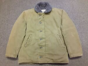 VTG USN N-1 Deck Style Military Boa Fleece Lined Jacket Green 40 Made In USA