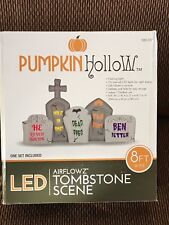 New Halloween 8 Foot Wide Lighted Tombstone Scene Inflatable Yard Decoration