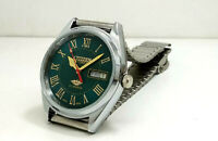 CITIZEN AUTOMATIC MEN,SSTEEL  PLATED VINTAGE GREEN DIAL MADE JAPAN WATCH RUN ODE