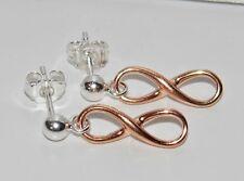 9ct Rose Gold on Sterling Silver INFINITY Drop / Dropper Ladies Stud Earrings