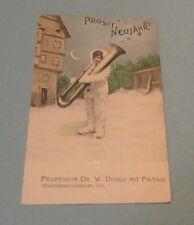 1904 German Child Playing Huge Metal Tuba Musical Instrument New Year Postcard