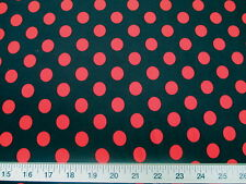 Discount Fabric Printed Spandex Stretch Black with Red Polka Dots H200