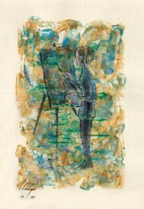 Llop - momentos especiales#14 'pintando' - acrílico s papel original 23x16