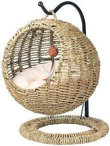 YoSpot Wicker Cat Bed Basket Swinging Pet House Nest for Small Dog Cat