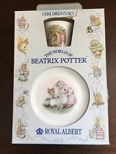 Vtg Beatrix Potter ROYAL ALBERT 3 Piece CHILDREN'S CHINA SET Cup Bowl Plate Box