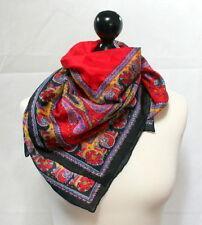 Carré de soie foulard multicolore motifs paisley