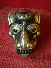 Himalayan Monkey Head Life Size Relief Carved Metal with Red Stone. Incense.