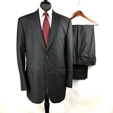 Michael Kors mens dark gray micro check wool Italian suit 44L