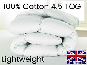 D&P Co 4.5 TOG Duvet Lightweight SUMMER Luxury COTTON COVER UK MADE Anti-Allergy