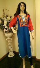 "38"" S Kurti Kurthi Top Boho Tunic Kaftan Indian Bollywood Kurtha Blue Red K12"