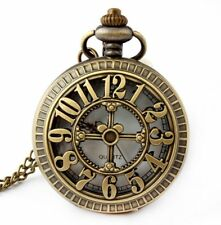 Retro Antique Bronze Skull Shaped Pocket Watch with 31 Inches Full Round Pocket