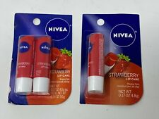 NEW (3 STICKS) Nivea STRAWBERRY Soft Smooth Red Lip Care Balm Stick Red FREE S/H