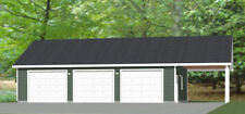 40x30 3-Car Garage with Carport -- 1,200 sqft -- PDF Floor Plan -- Model 3P