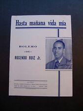 Hasta Manana Vida Mia by Rosendo Ruiz Jr. sheet music Habana, Cuba 1947