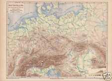 Deutschland Flüsse Gebirge physikalische LANDKARTE 1874
