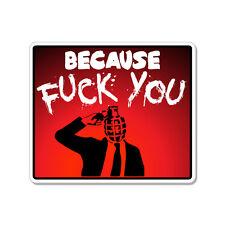 "Because F* You Banksy car bumper sticker decal 5"" x 4"""