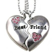New Best Friends Forever BFF Clear Heart Two Pendant Necklace Engraved Charm h1