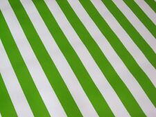 LIME KIWI GREEN WHITE CABANA STRIPE PICNIC BBQ OILCLOTH VINYL TABLECLOTH 48x84
