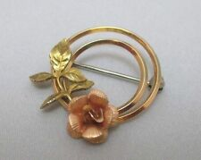 KREMENTS YELLOW & ROSE GOLD FILLED 2 CIRCLES WITH FLOWER PIN BROOCH **