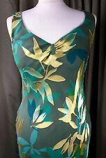 Monsoon Silk Blend Green Gold Cocktail Dress UK10 EU38 EXCELLENT CONDITION
